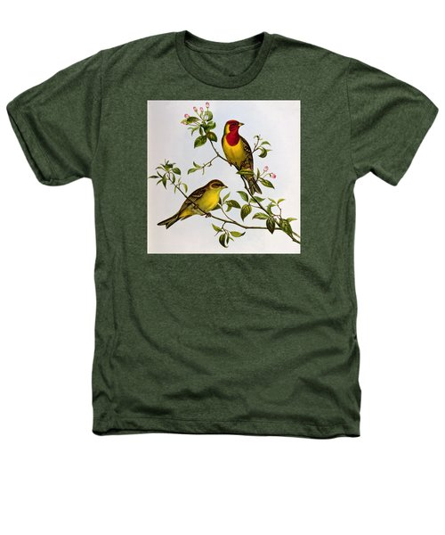 Red Headed Bunting Heathers T-Shirt by John Gould