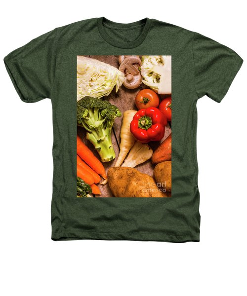 Selection Of Fresh Vegetables On A Rustic Table Heathers T-Shirt by Jorgo Photography - Wall Art Gallery
