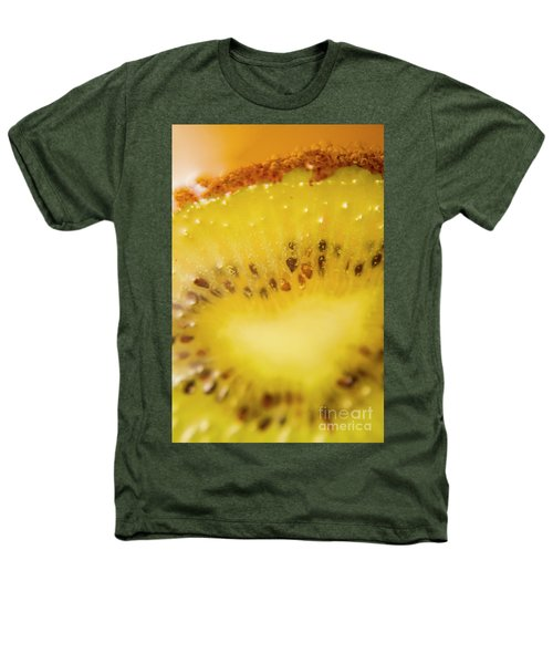 Sliced Kiwi Fruit Floating In Carbonated Beverage Heathers T-Shirt by Jorgo Photography - Wall Art Gallery