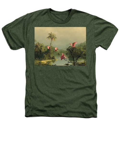 Spoonbills In The Mist Heathers T-Shirt by Spadecaller