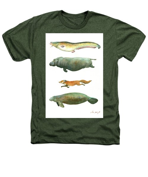 Swimming Animals Heathers T-Shirt by Juan Bosco