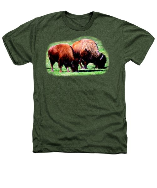 Texas Bison Heathers T-Shirt by Linda Phelps