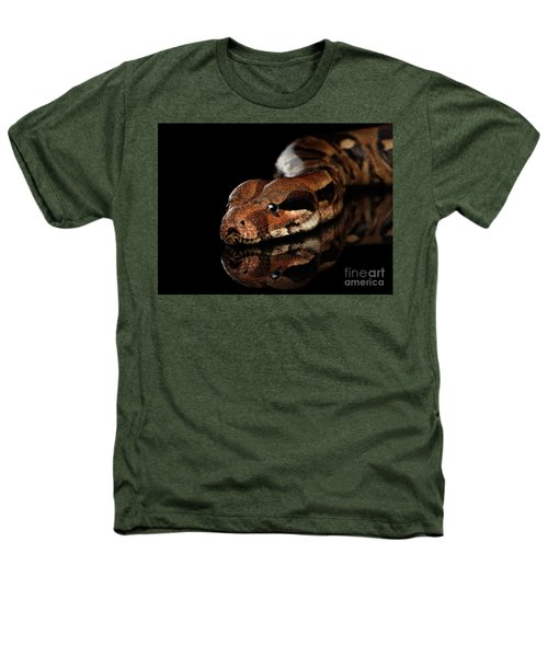 The Boa Constrictors, Isolated On Black Background Heathers T-Shirt by Sergey Taran