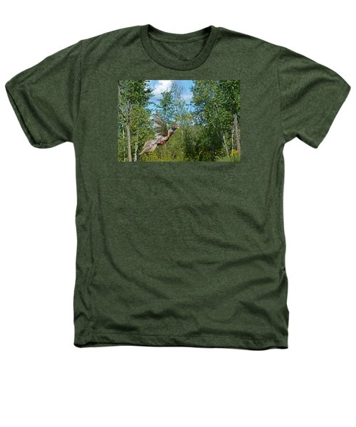 The Ring-necked Pheasant In Take-off Flight Heathers T-Shirt by Asbed Iskedjian