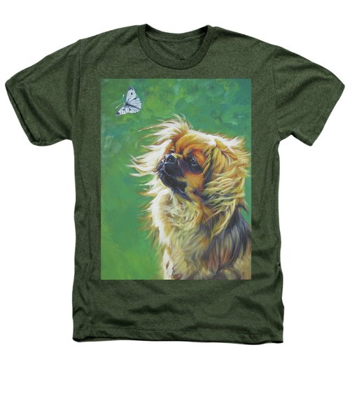 Tibetan Spaniel And Cabbage White Butterfly Heathers T-Shirt