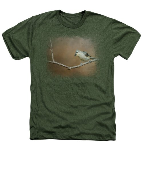 Visiting Tufted Titmouse Heathers T-Shirt by Jai Johnson