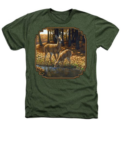 Whitetail Deer - Autumn Innocence 1 Heathers T-Shirt by Crista Forest