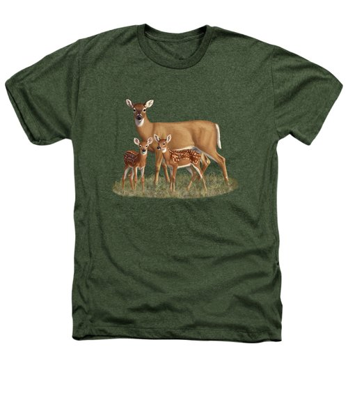 Whitetail Doe And Fawns - Mom's Little Spring Blossoms Heathers T-Shirt by Crista Forest
