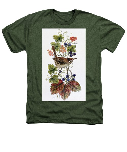 Wren On A Spray Of Berries Heathers T-Shirt by Nell Hill