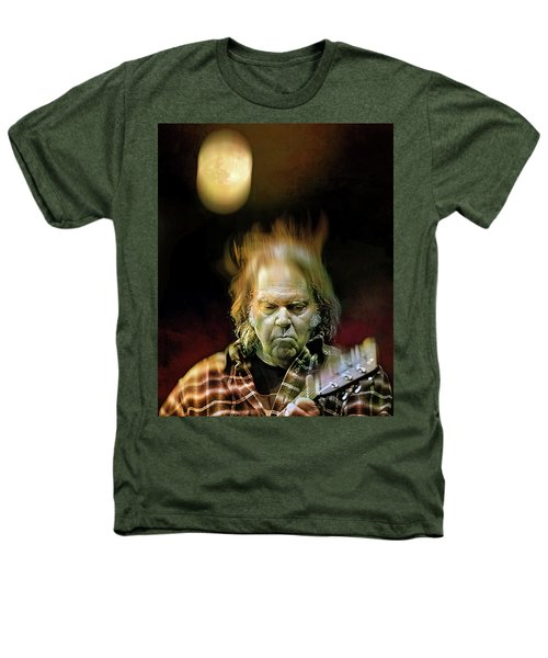 Yellow Moon On The Rise Heathers T-Shirt by Mal Bray