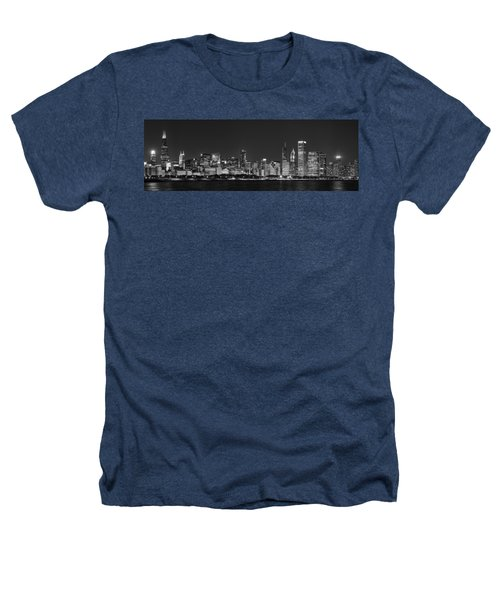 Chicago Skyline At Night Black And White Panoramic Heathers T-Shirt by Adam Romanowicz