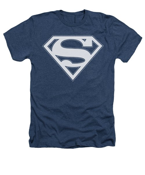 Superman - Navy And White Shield Heathers T-Shirt