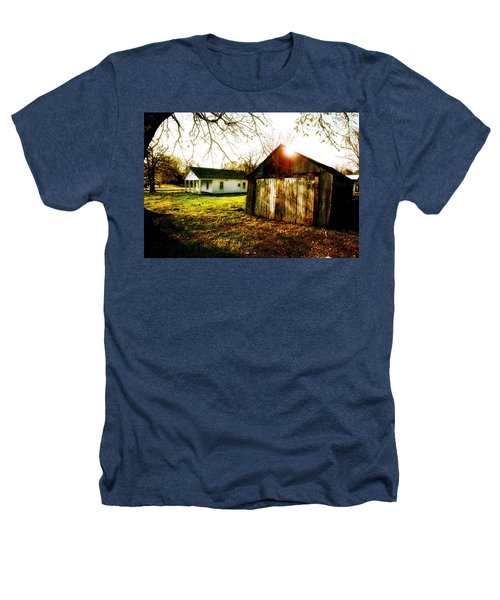 American Fabric   Mickey Mantle's Childhood Home Heathers T-Shirt by Iconic Images Art Gallery David Pucciarelli