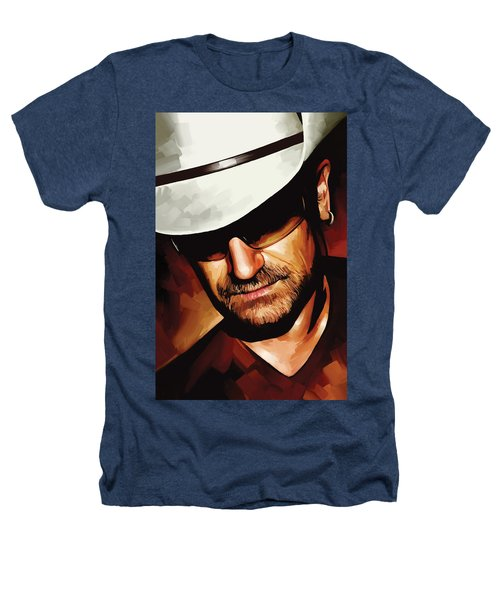 Bono U2 Artwork 3 Heathers T-Shirt by Sheraz A
