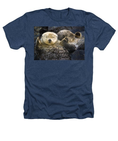 Captive Two Sea Otters Holding Paws At Heathers T-Shirt