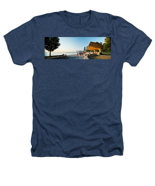 Chicago Lakefront Panorama Heathers T-Shirt by Steve Gadomski