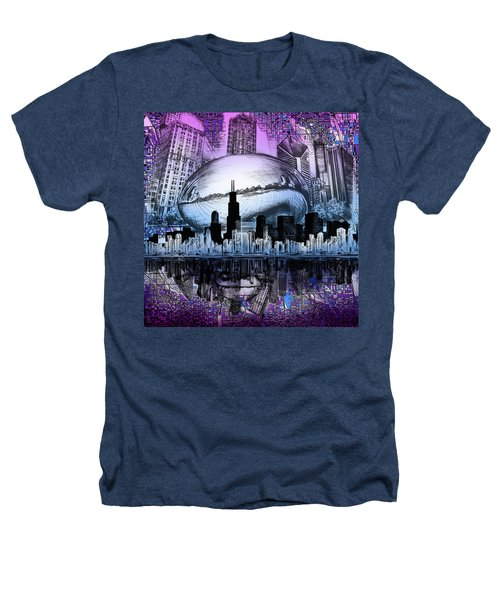 Chicago Skyline Drawing Collage 2 Heathers T-Shirt