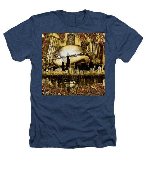 Chicago Skyline Drawing Collage 3 Heathers T-Shirt