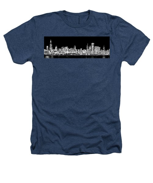 Chicago Skyline Fractal Black And White Heathers T-Shirt by Adam Romanowicz