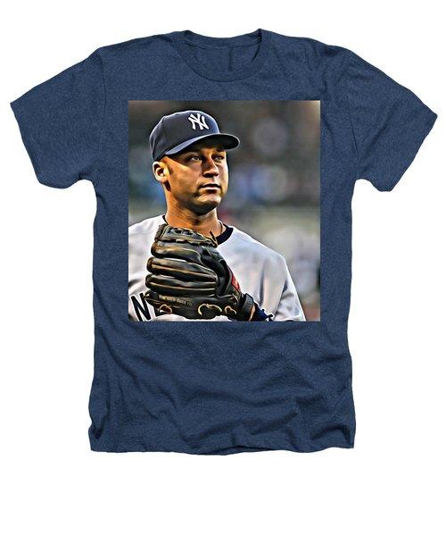 Derek Jeter Portrait Heathers T-Shirt