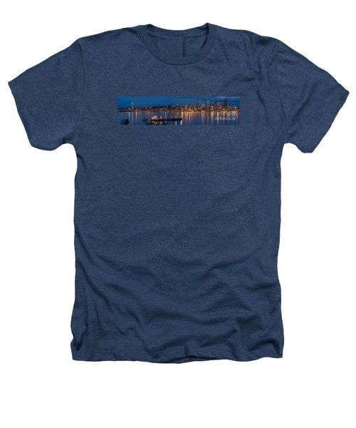 Elliott Bay Seattle Skyline Night Reflections  Heathers T-Shirt by Mike Reid