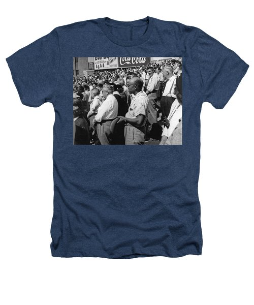 Fans At Yankee Stadium Stand For The National Anthem At The Star Heathers T-Shirt by Underwood Archives
