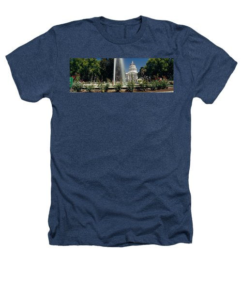Fountain In A Garden In Front Heathers T-Shirt by Panoramic Images