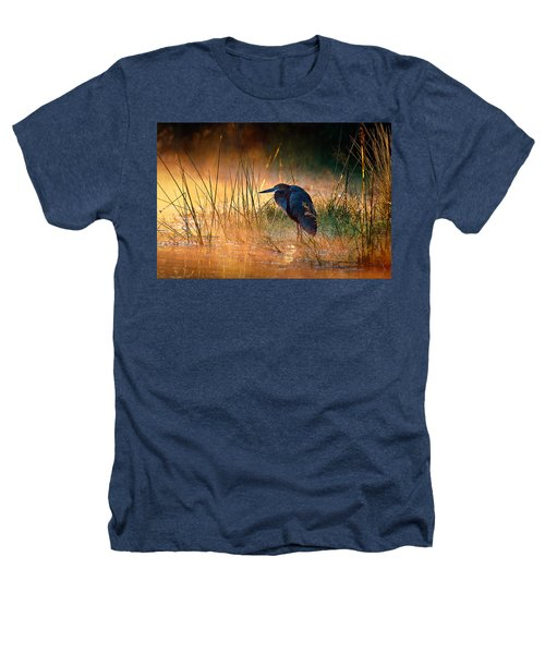 Goliath Heron With Sunrise Over Misty River Heathers T-Shirt