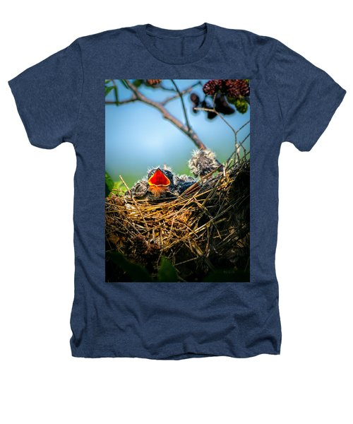 Hungry Tree Swallow Fledgling In Nest Heathers T-Shirt