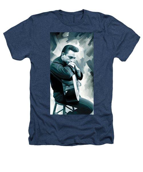 Johnny Cash Artwork 3 Heathers T-Shirt