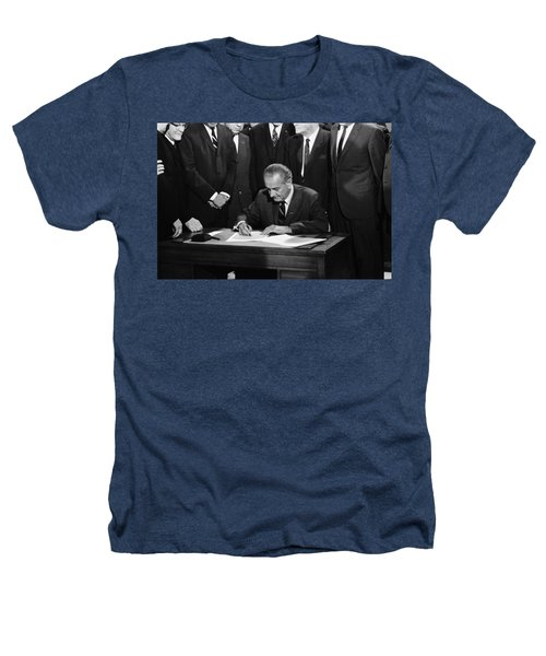 Lbj Signs Civil Rights Bill Heathers T-Shirt by Underwood Archives Warren Leffler