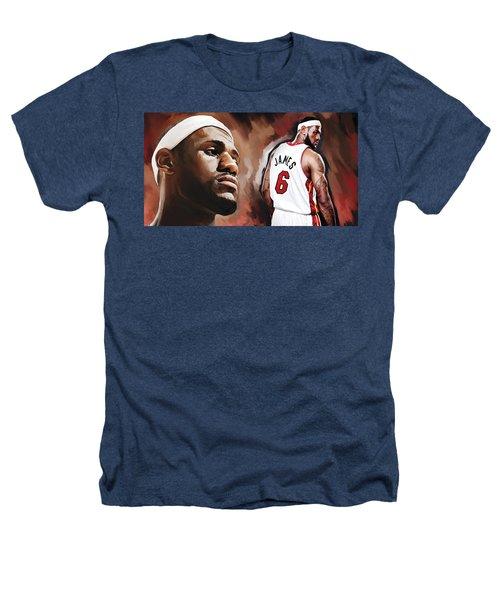 Lebron James Artwork 2 Heathers T-Shirt by Sheraz A