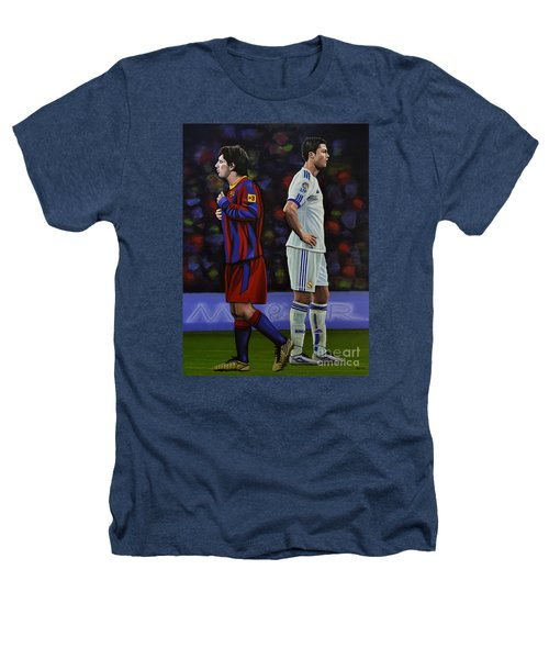 Lionel Messi And Cristiano Ronaldo Heathers T-Shirt by Paul Meijering