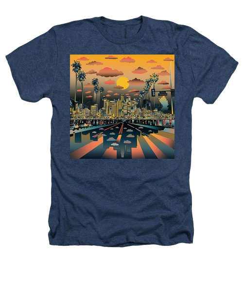 Los Angeles Skyline Abstract 2 Heathers T-Shirt by Bekim Art