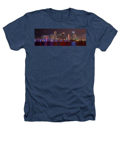 Miami Skyline At Night Panorama Color Heathers T-Shirt by Jon Holiday