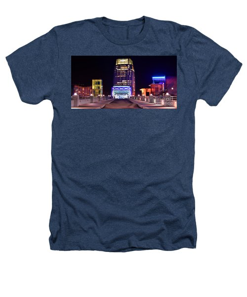 Nashville Sight Night Skyline Pinnacle Panorama Color Heathers T-Shirt by Jon Holiday
