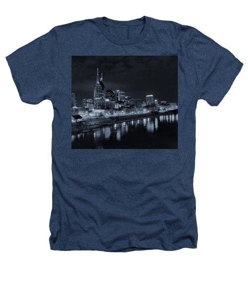 Nashville Skyline At Night Heathers T-Shirt by Dan Sproul