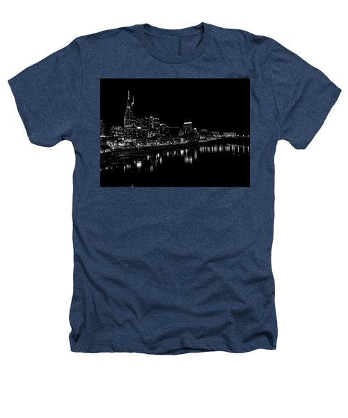 Nashville Skyline At Night In Black And White Heathers T-Shirt