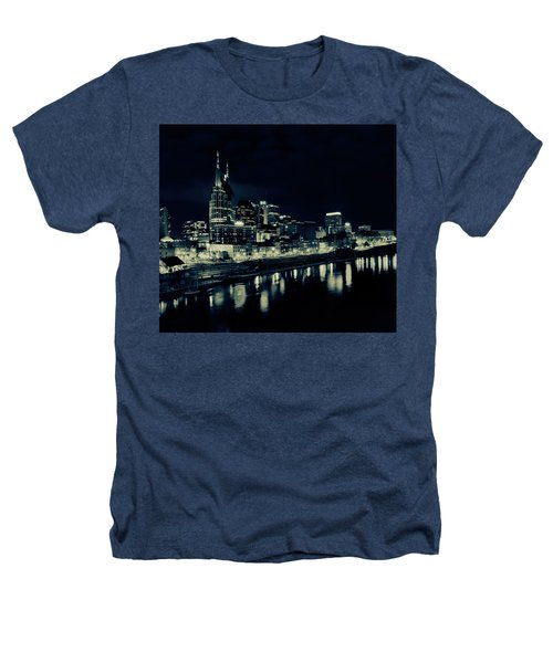 Nashville Skyline Reflected At Night Heathers T-Shirt