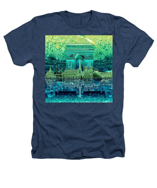 Paris Skyline Landmarks 6 Heathers T-Shirt