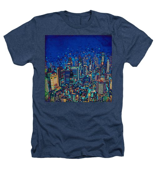 Philadelphia Panorama Pop Art 2 Heathers T-Shirt by Bekim Art
