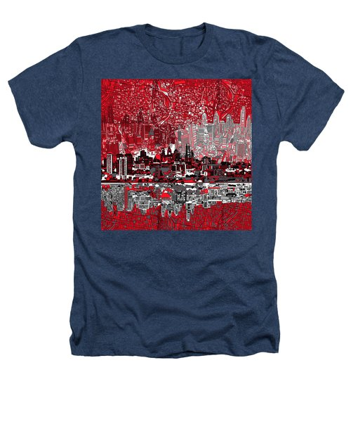 Philadelphia Skyline Abstract 4 Heathers T-Shirt by Bekim Art