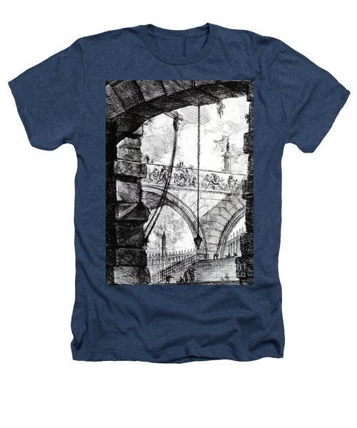 Plate 4 From The Carceri Series Heathers T-Shirt by Giovanni Battista Piranesi