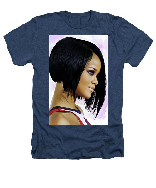 Rihanna Artwork Heathers T-Shirt by Sheraz A