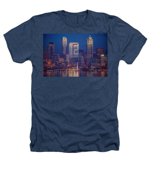 Seahawks 12th Man Seattle Skyline At Dusk Heathers T-Shirt by Mike Reid