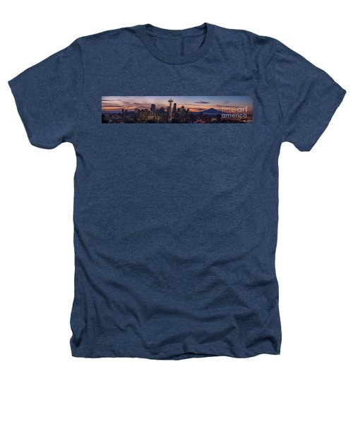 Seattle Cityscape Morning Light Heathers T-Shirt by Mike Reid