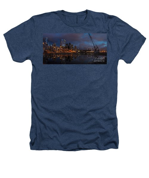 Seattle Night Skyline Heathers T-Shirt by Mike Reid