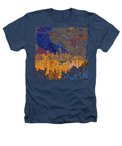 Seattle Skyline Abstract 4 Heathers T-Shirt