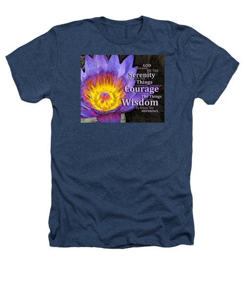 Serenity Prayer With Lotus Flower By Sharon Cummings Heathers T-Shirt