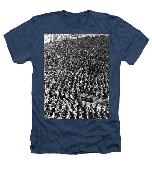 Baseball Fans At Yankee Stadium In New York   Heathers T-Shirt by Underwood Archives
